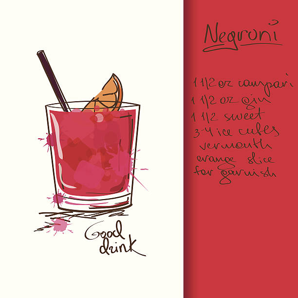 illustrazioni stock, clip art, cartoni animati e icone di tendenza di illustrazione con un negroni cocktail - aperitivo