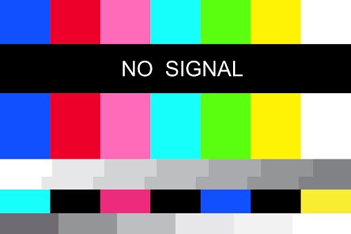 Illustration with no signal. Internet broadcast. Digital communication. Vector icon. Stock image. EPS 10.