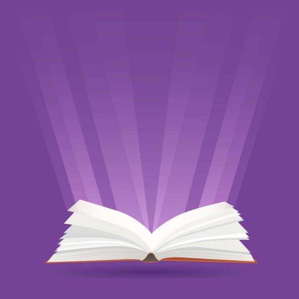ilustraciones, imágenes clip art, dibujos animados e iconos de stock de ilustración con libro abierto y rayos de luz. - sparks