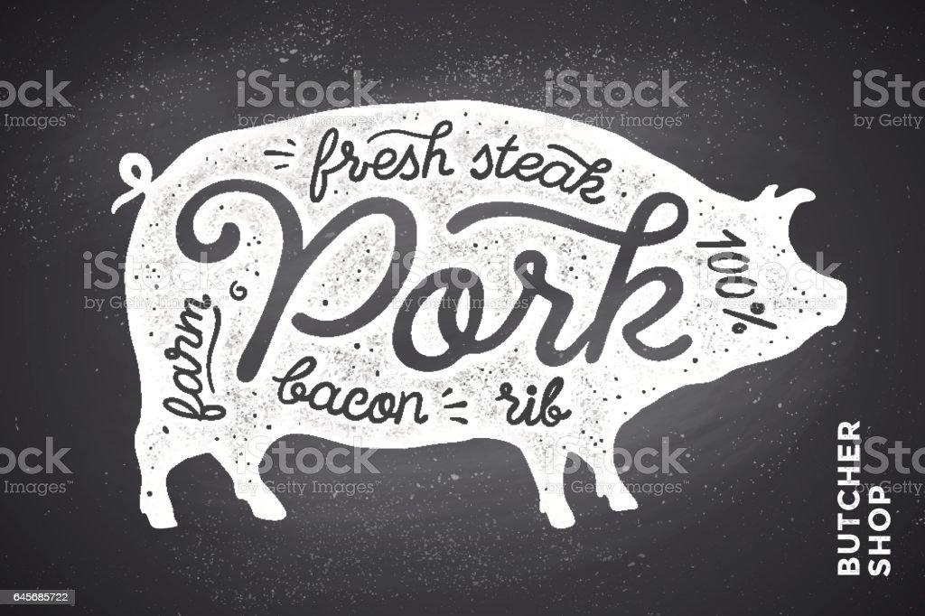 Illustration with pig silhouette Pork. Lettering vector art illustration