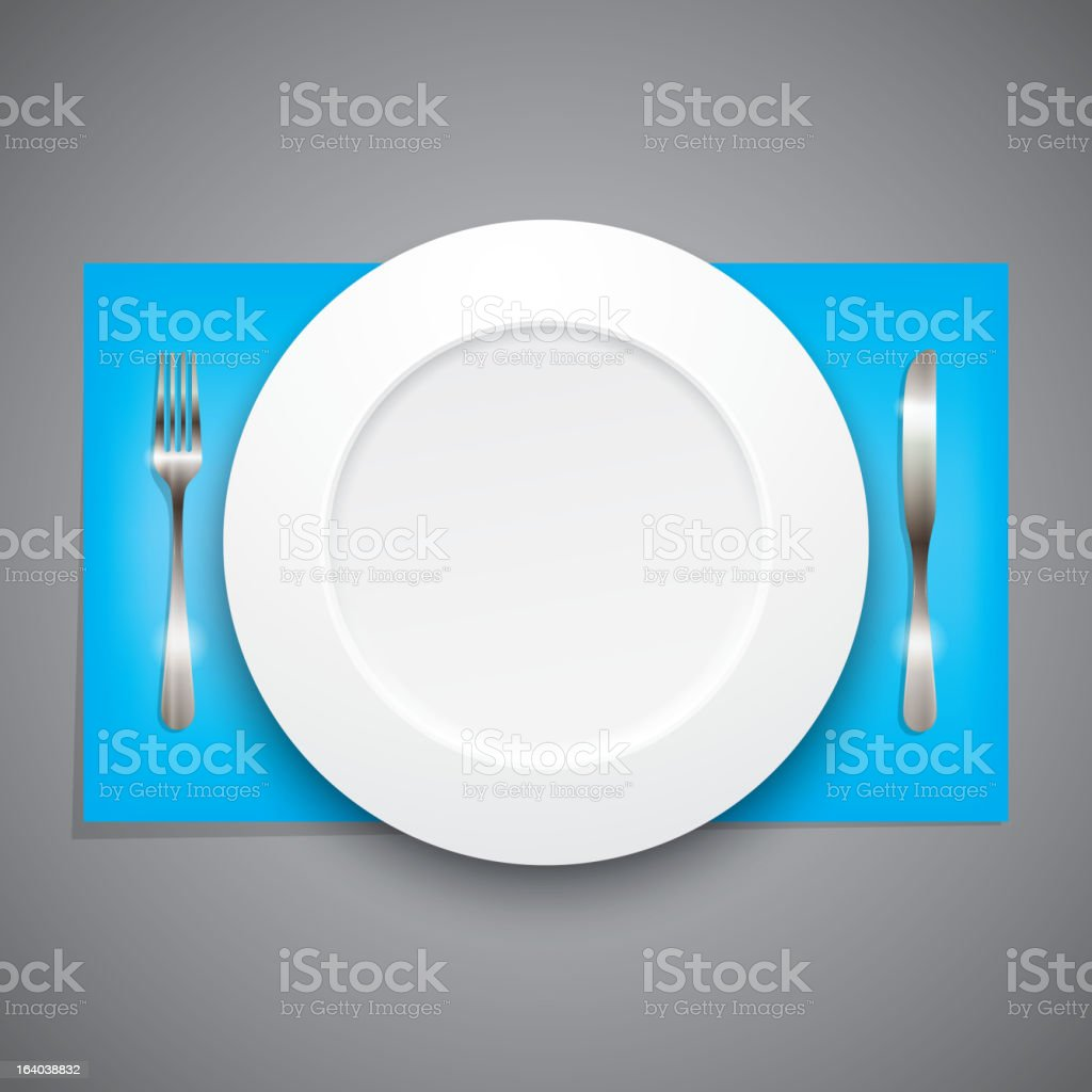 illustration with plate and silverware royalty-free stock vector art