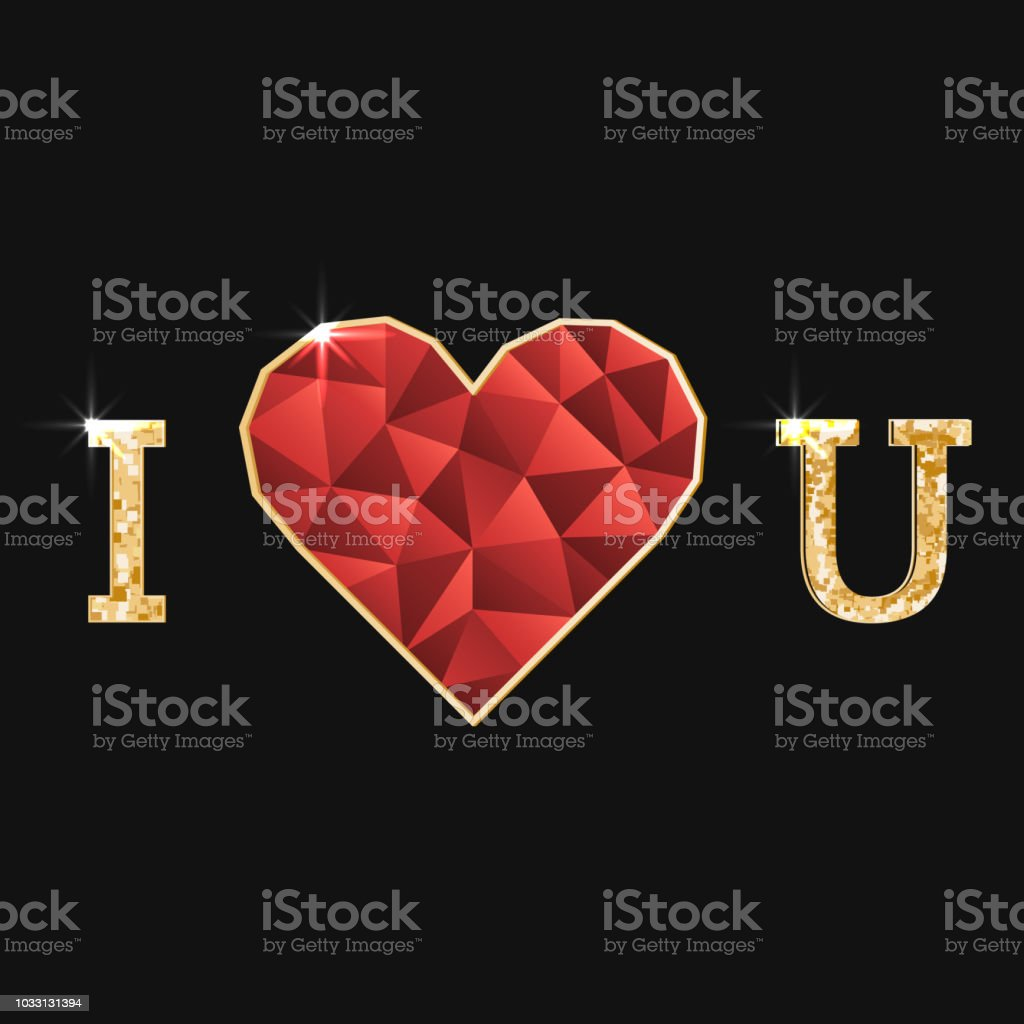 Illustration with polygonal red heart and golden inscription i love u - Illustration .