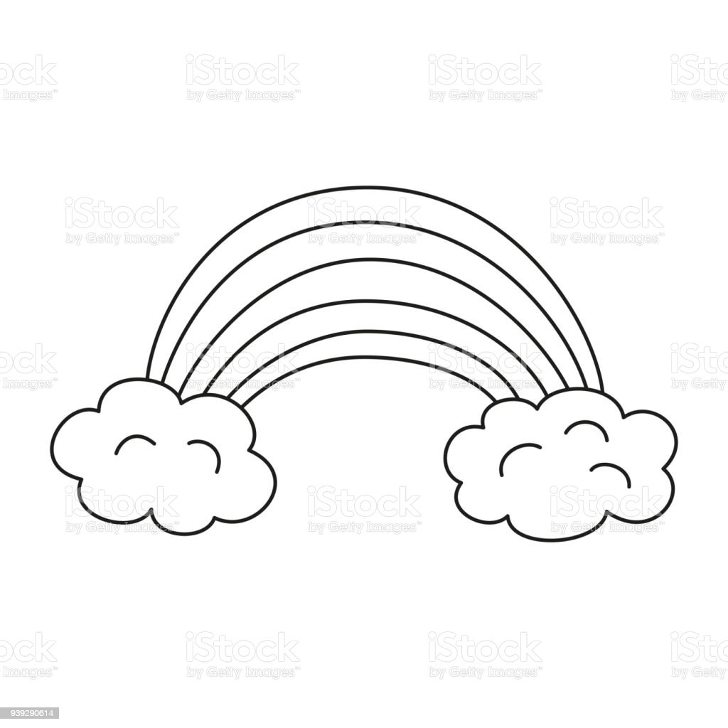 Illustration With Rainbow For Coloring Book Stock Vector Art & More ...