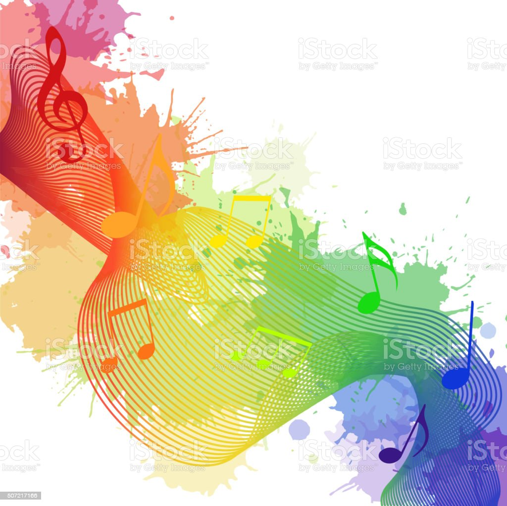 Illustration with rainbow musical notes, waves vector art illustration
