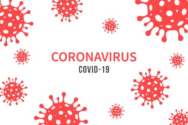 CORONAVIRUS, COVID-19. Illustration with red viral cells on white background vector art illustration