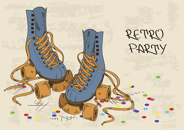 illustration mit retro deinen inlineskates - rollschuh stock-grafiken, -clipart, -cartoons und -symbole