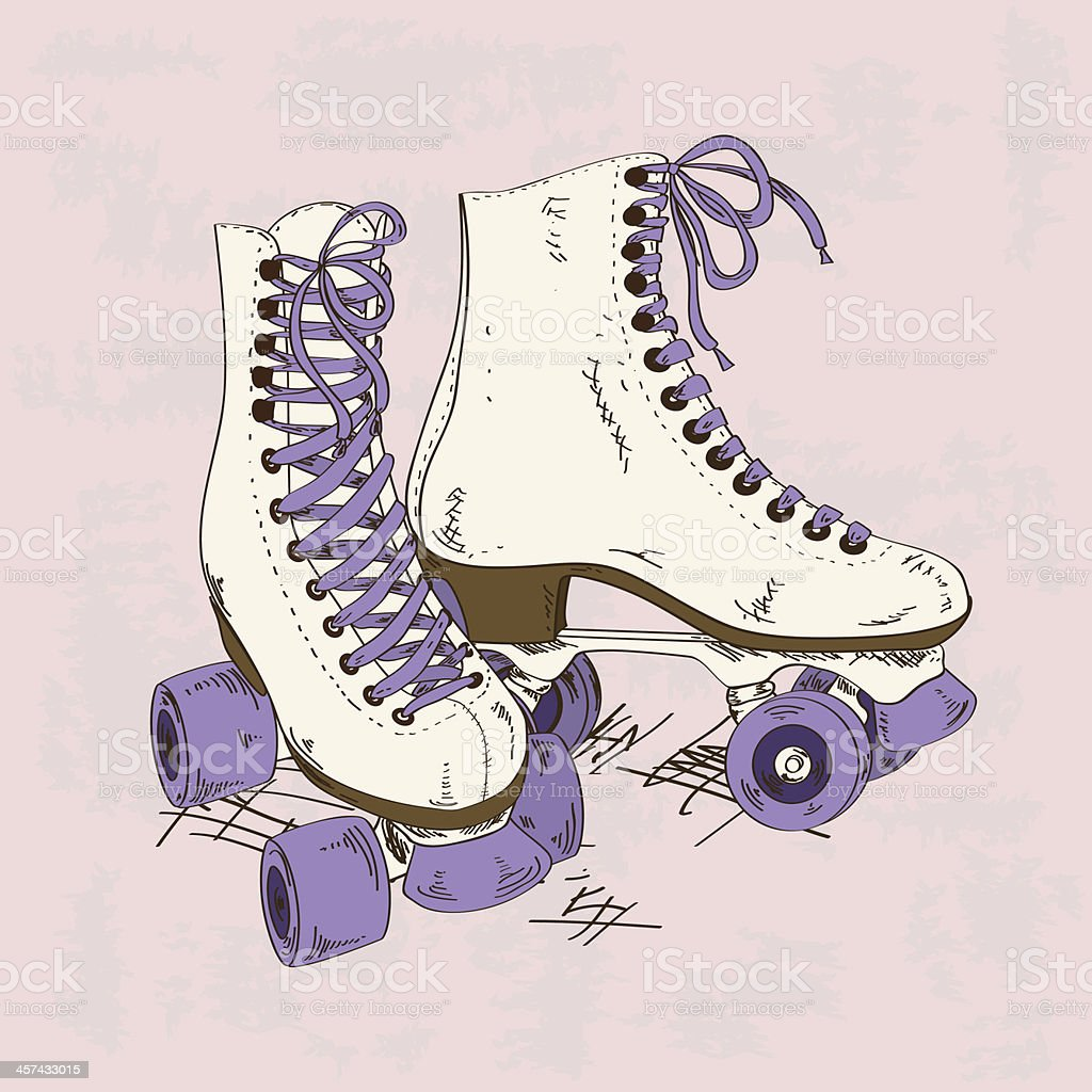 Illustration with retro roller skates royalty-free stock vector art