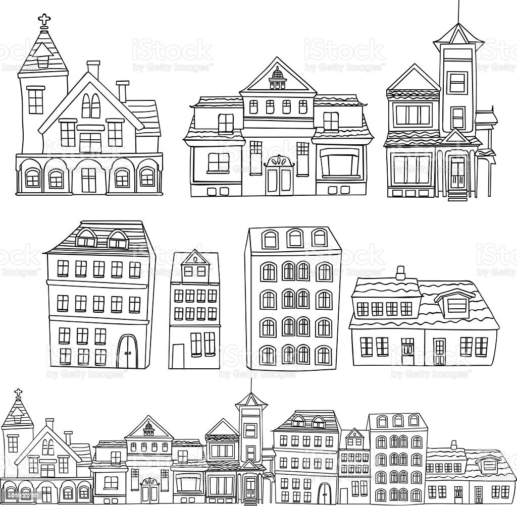 Illustration with rows of different types of buildings vector art illustration