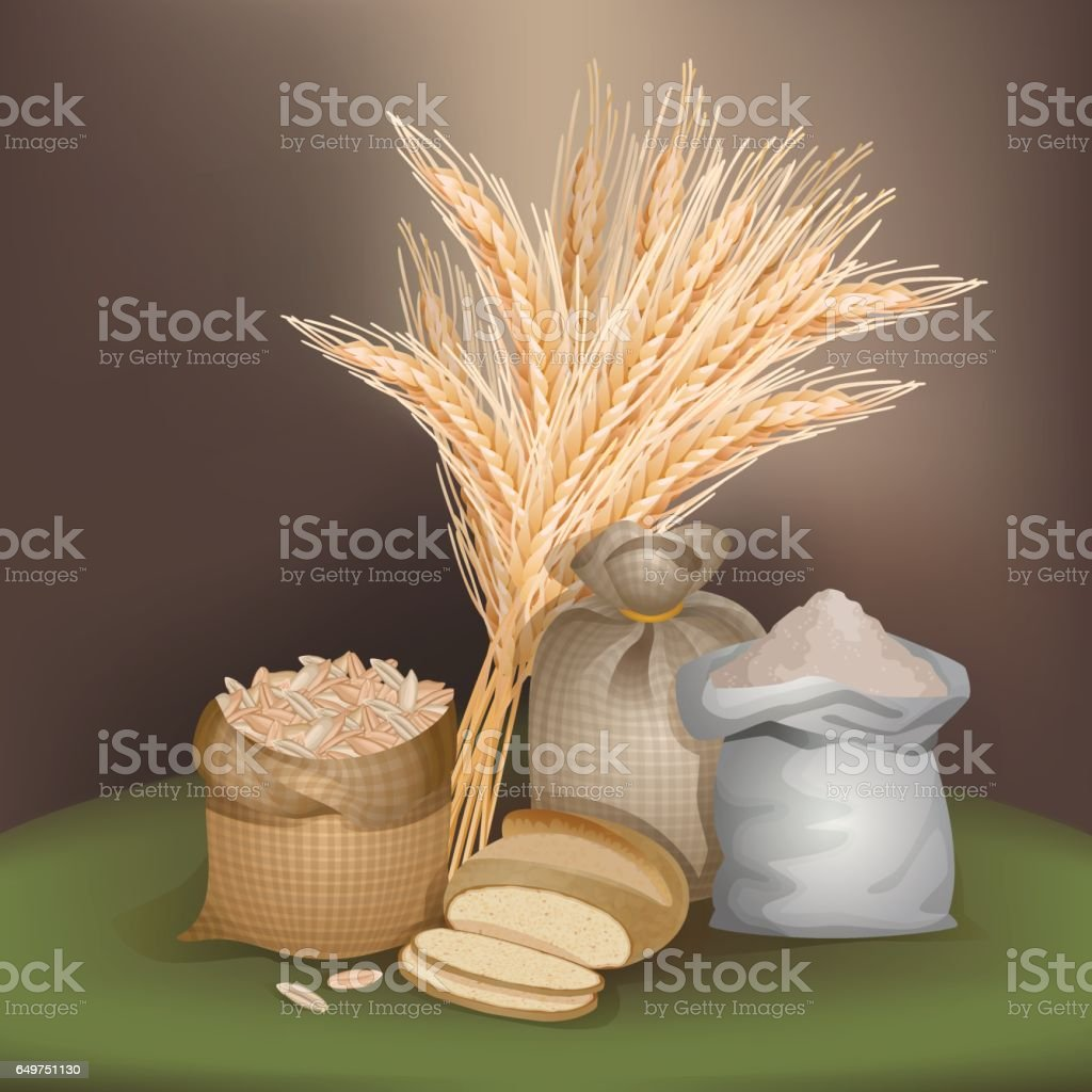 Illustration with rye foodstuff
