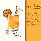 Illustration with hand drawn Screwdriver cocktail. Included Ai