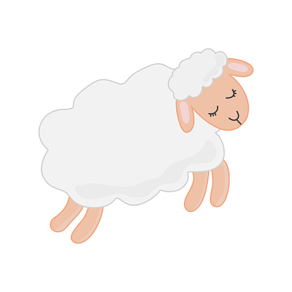 Illustration with sheep. Isolated on white background. For books, children's books, books about animals, stickers, magazines, design, factories, business