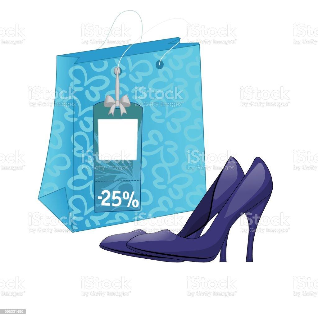 Ilustración con el paquete de calzado y zapatos de tacón alto. De último  minuto en 30518538a9896
