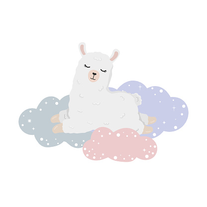 Illustration with sleeping alpaca (llama) on clouds in the sky. Illustration for posters, greeting cards, nursery decoration and baby t-shirts.