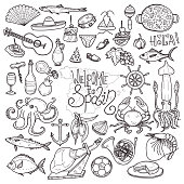 Cute hand drawn set of  Spain related icons. Welcome to Spain collection