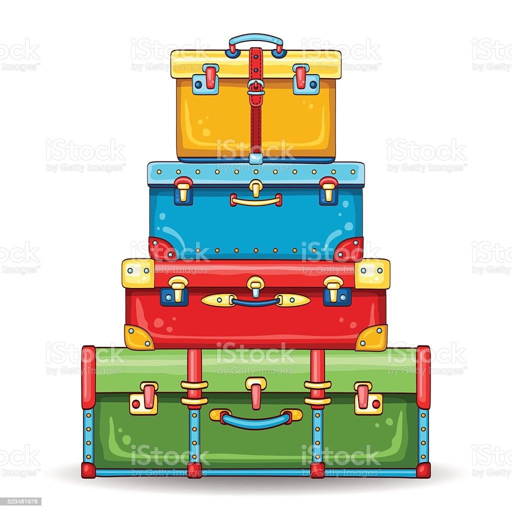 Illustration With Stack Of Colorful Vintage Suitcases ...