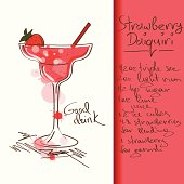 Illustration with hand drawn Strawberry Daiquiri cocktail. Included Ai