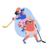 Illustration with teen girls playing ice hockey game. Isolated vectorconcept
