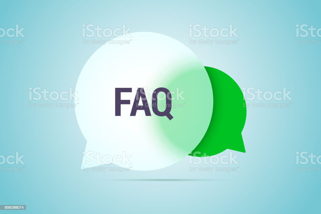 FAQ illustration with two speech bubbles with transparent effect.