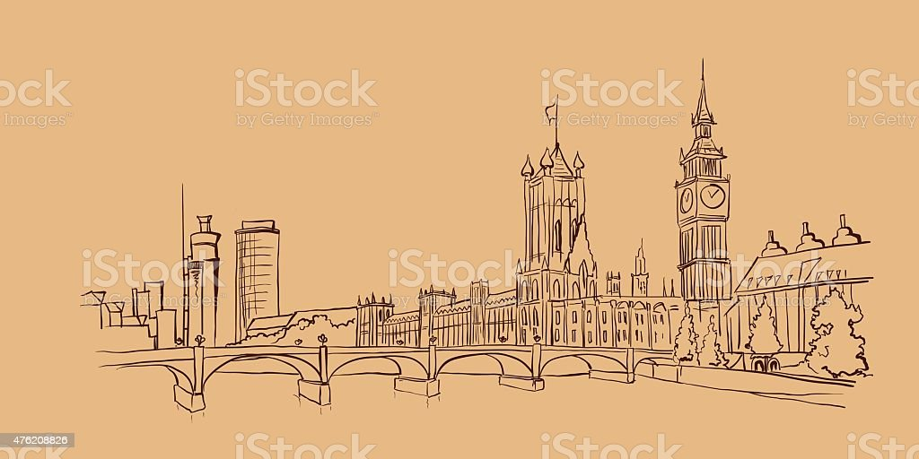 Illustration with views of the historic part of London, UK. vector art illustration