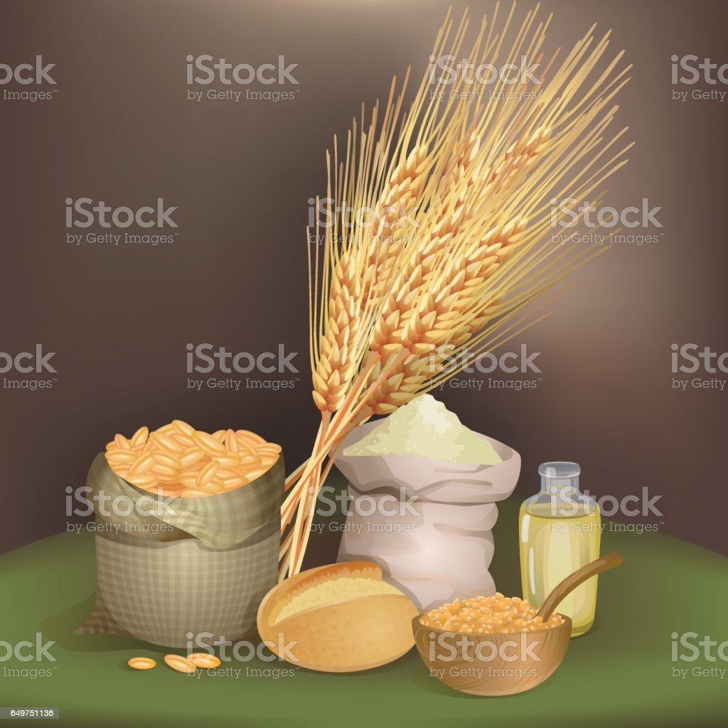 Illustration with wheat foodstuff