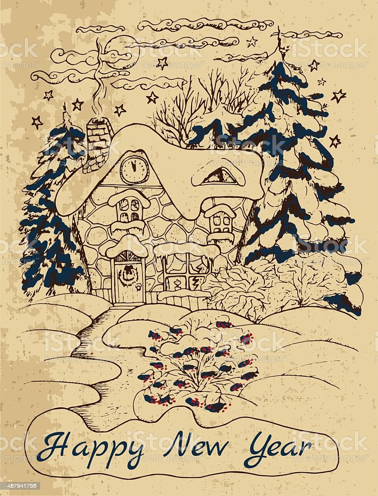 Illustration With Winter House Holiday Card Royalty Free