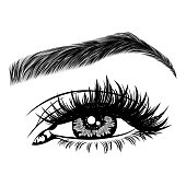 Illustration with woman's eye, eyelashes and eyebrow. Makeup Look. Tattoo design. Logo for brow bar or lash salon.