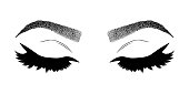 Illustration with woman's eyelashes and eyebrows. Realistic sexy makeup look. Tattoo design. Logo for brow bar or lash salon.