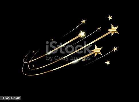 Illustration with yellow stars on black background for concept design. Metal gold background shiny yellow leaf gold texture background. Celebration concept. Space background.
