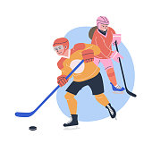 Illustration with young male and female ice hockey players. Isolated vector. Flat characters