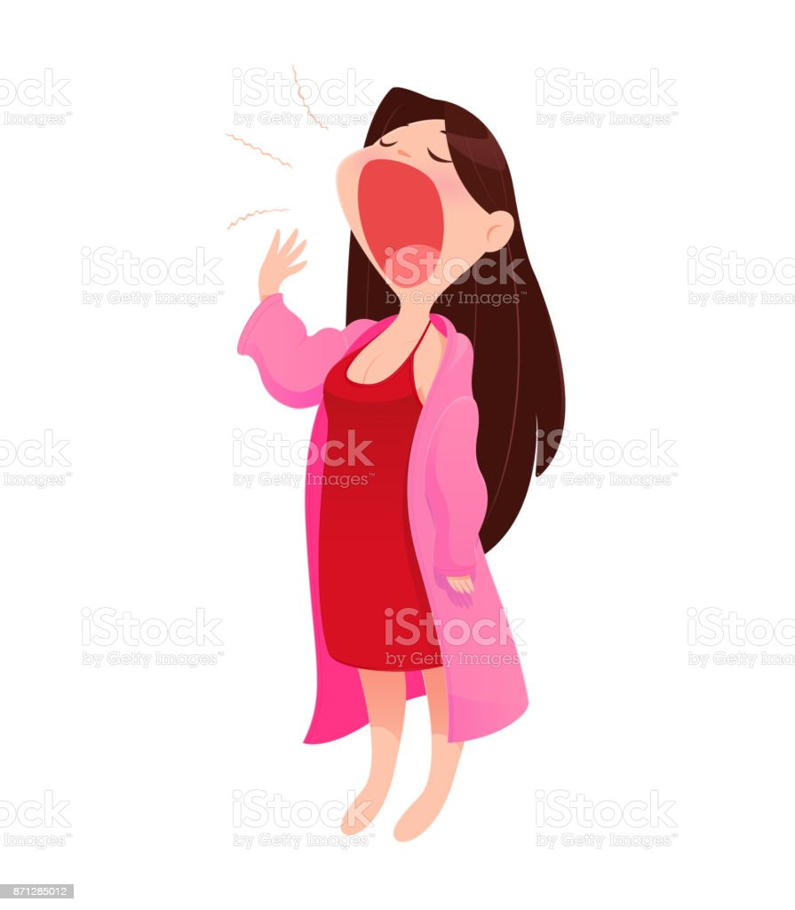 Illustration woman in nightwear and robe standing yawn, isolate on white background, Vector Cartoon vector art illustration