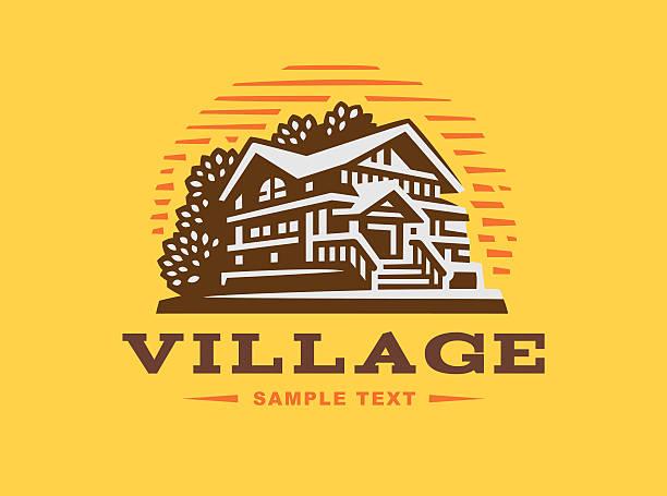 Illustration wooden house on yellow background vector art illustration