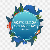 Illustration World Oceans Day , Conserve Aquatic and Natural Living in the Ocean , Cute Cartoon Character m Typography , vector eps10 design