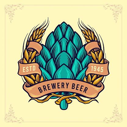 Illustrations Brewery Beer Badge with Ribbon Logo vintage style