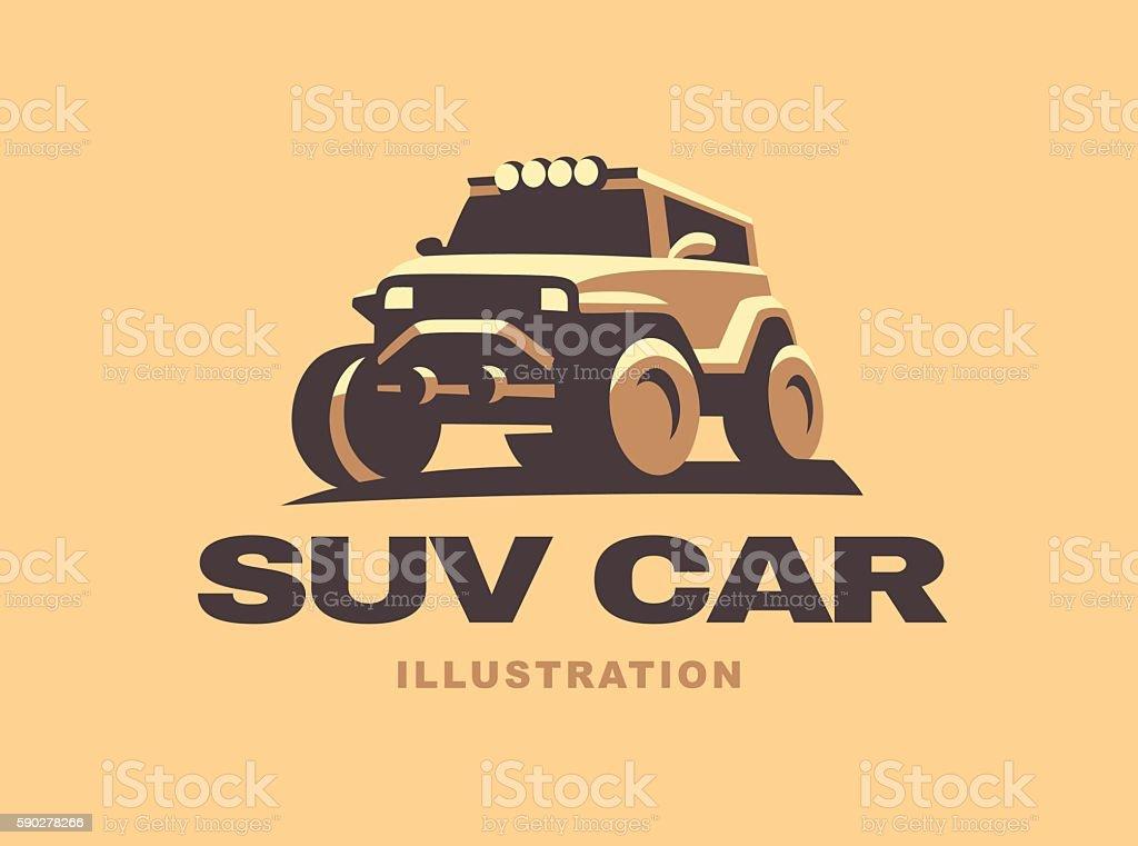 SUV illustrations car emblem, color version vector art illustration