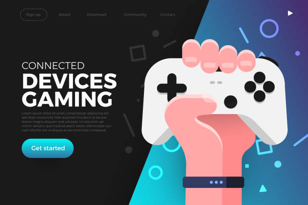 Illustrations COncept Game streaming Illustrations flat design concept game online streaming platform can playing multiple device with internet browser. Playing online console controller. Vector illustrate. game controller stock illustrations