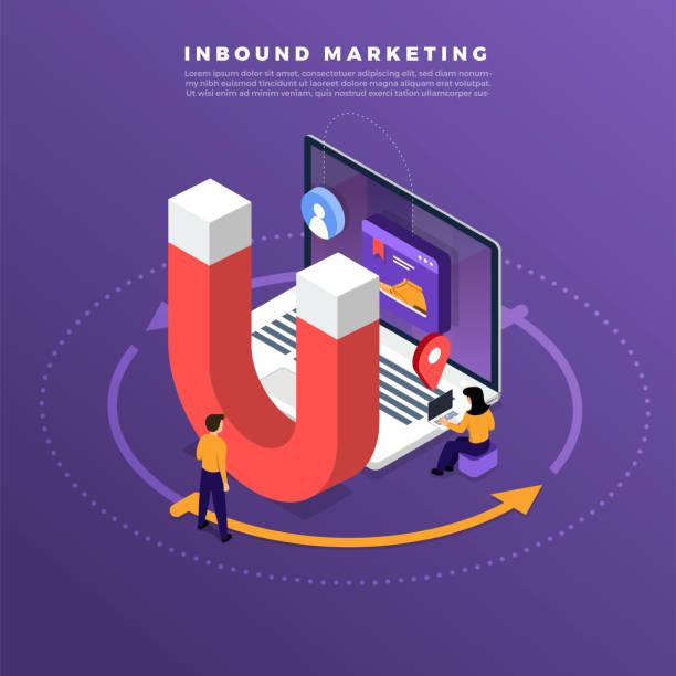 ilustrações de stock, clip art, desenhos animados e ícones de illustrations concept inbound marketing - inbound marketing