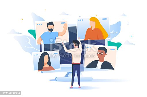 istock Illustrations flat design concept video conference. online meeting work form home. Vector illustrate. 1226420814
