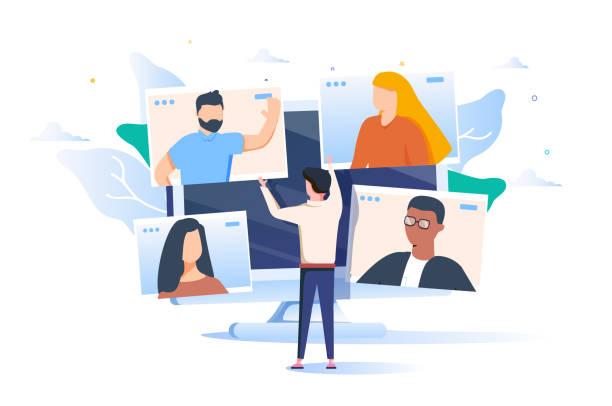 stockillustraties, clipart, cartoons en iconen met illustraties flat design concept video conferentie. online vergaderwerkformulier thuis. vector illustreren. - medewerkerbetrokkenheid