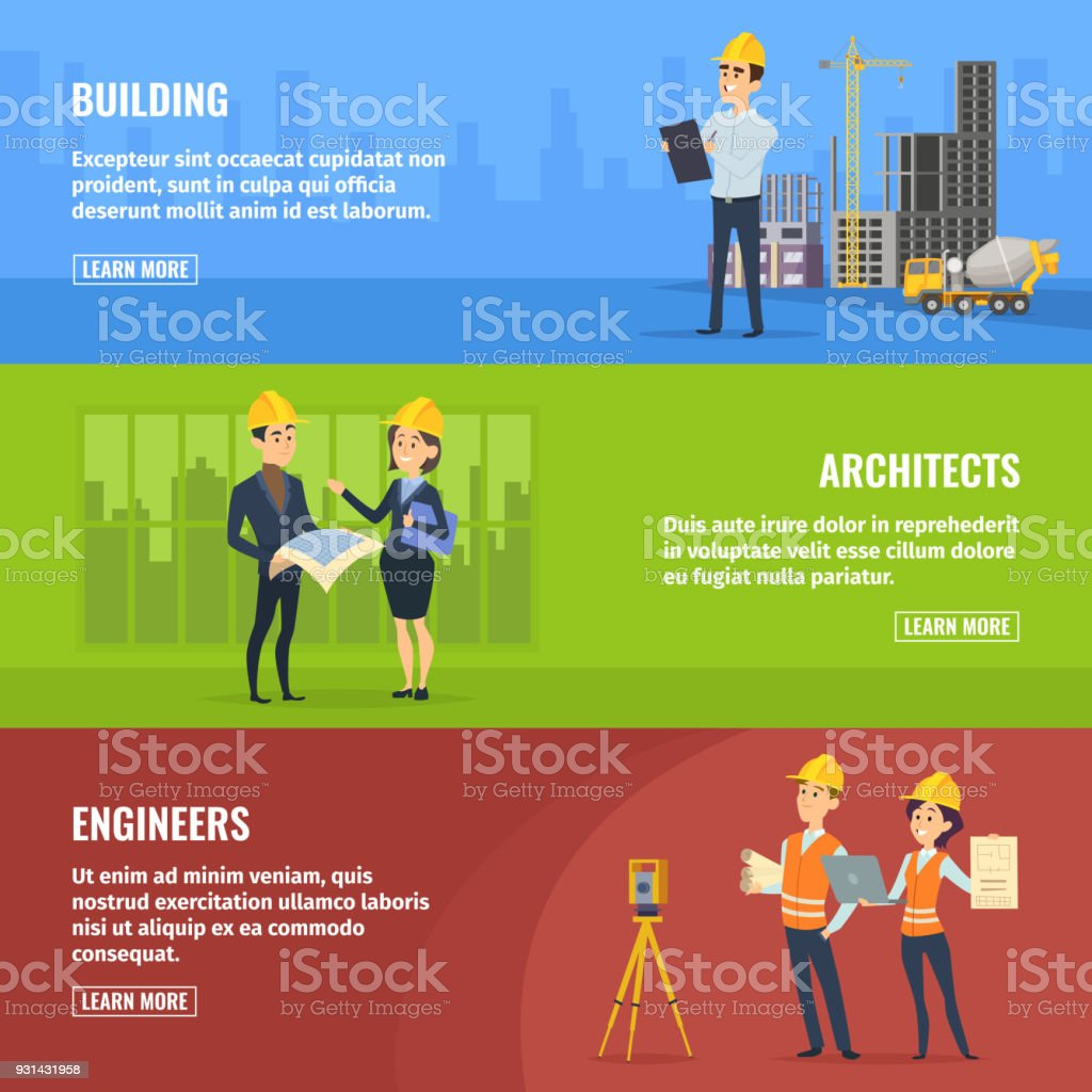 Illustrations for banners of builders architects and engineers vector art illustration