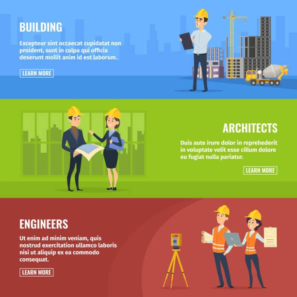 illustrationen für banner von bauherren, architekten und ingenieure - ingenieur stock-grafiken, -clipart, -cartoons und -symbole