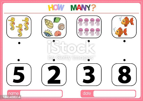 istock Illustrations for educational games for children. so that children can learn to count the numbers according to the pictures provided in the Animal category. 1341458314