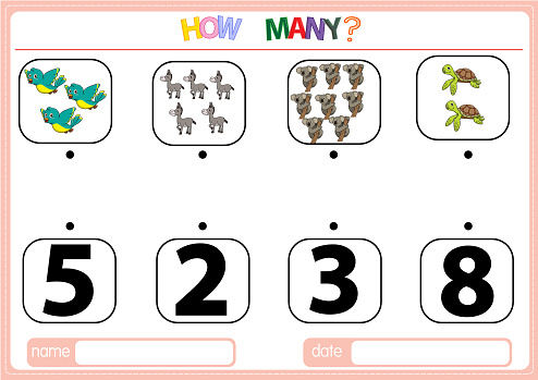 Illustrations for educational games for children. so that children can learn to count the numbers according to the pictures provided in the Animal category.