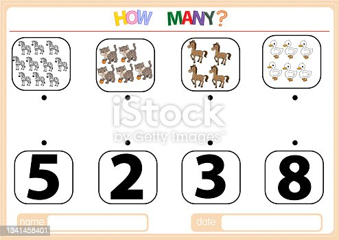 istock Illustrations for educational games for children. so that children can learn to count the numbers according to the pictures provided in the Animal category. 1341458401