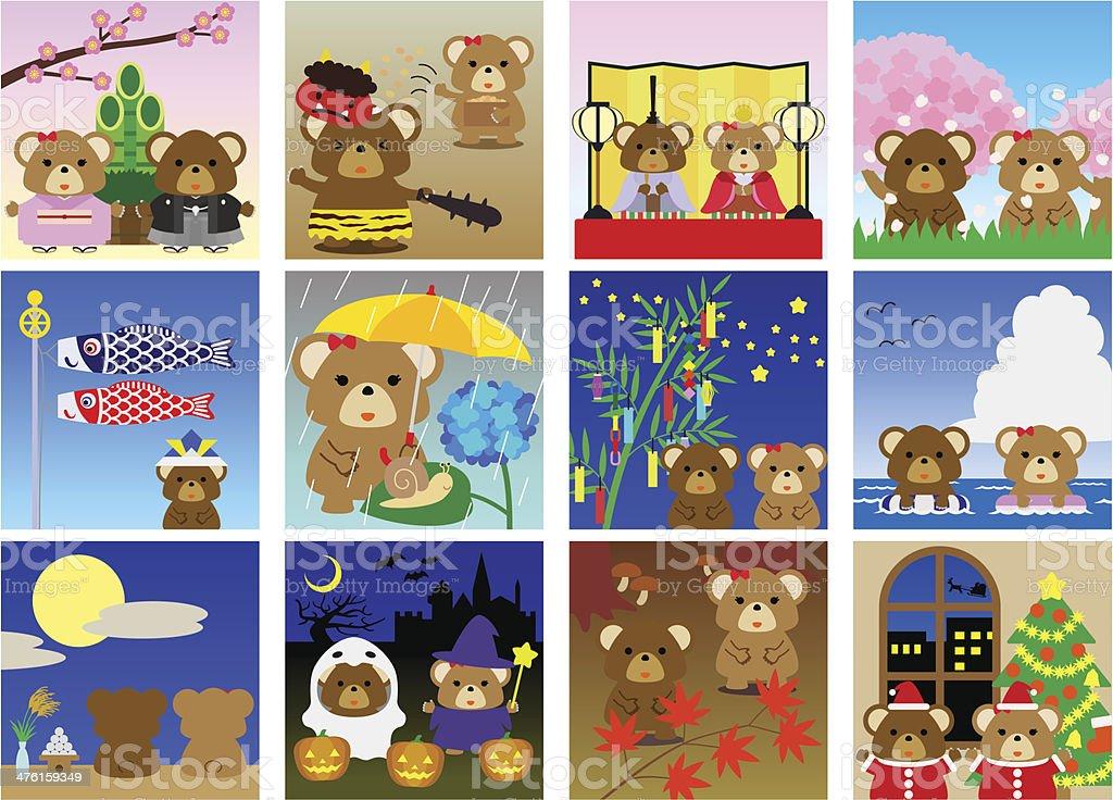 Calendario Giapponese Animali.Illustrazioni Per Giapponese Calendario Immagini