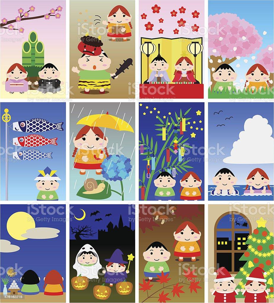 Illustrations for Japanese calendar (children , portrait) royalty-free stock vector art