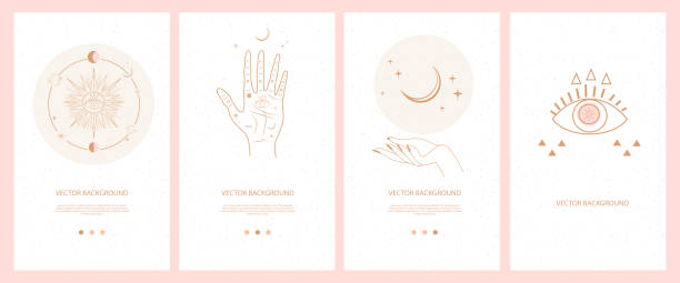 Illustrations for Mobile App, Landing page, Web design in hand drawn style. Collection of mystical and mysterious illustrations for Mobile App, Landing page, Web design in hand drawn style. Space and astrology concept. Minimalistic objects made in the style of one line. alchemy stock illustrations