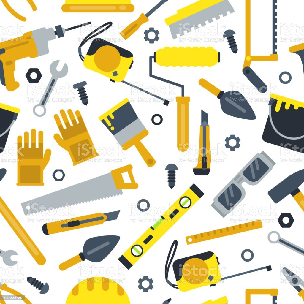 illustrations for work shop different construction tools repair