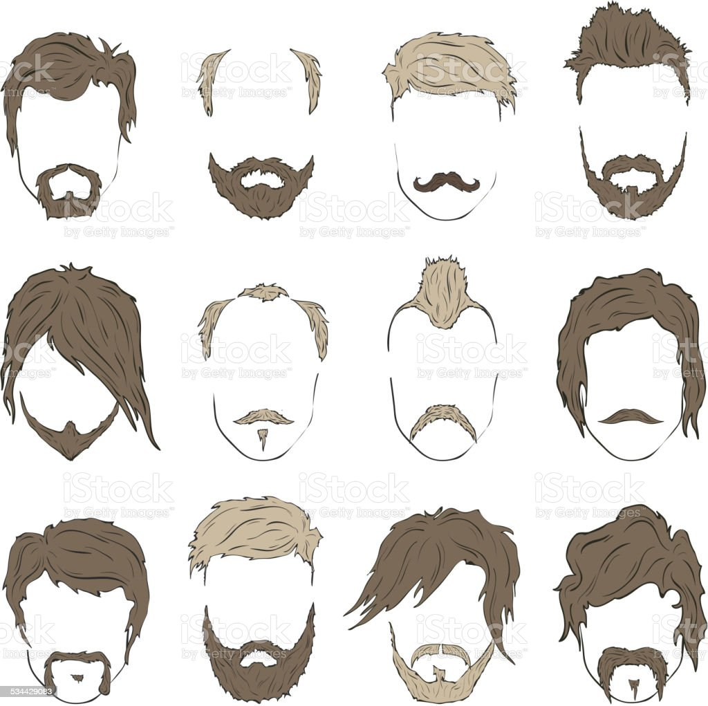 Vector Hairstyles: Illustrations Hairstyles With A Beard And Mustache Stylish