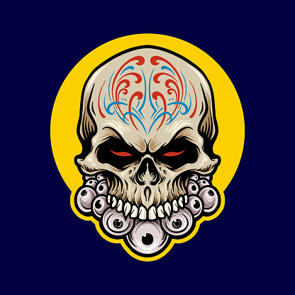 Illustrations Mexican Sugar skull Dia De Los Muertos for clothing line and merchandise t-shirt and stickers