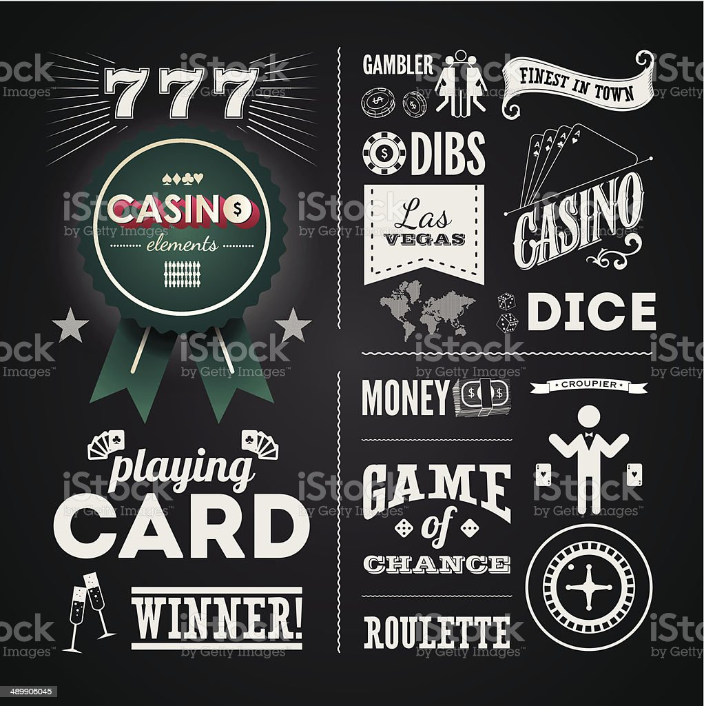 Illustrations of a vintage graphic elements for casino on blackboard vector art illustration